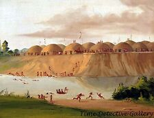 Hidatsa Village Earth Covered Lodges - 1832 - George Catlin Art Print