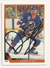 93/94 Upper Deck Autographed Hockey Card Derek King New York Islanders