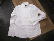 """WHITE  COTTON  EVENING  SHIRT  pintuck front     should fit chest size 44"""""""