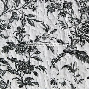 LAURA ASHLEY FLORAL TOILE  3pc FULL/QUEEN QUILT ~ Black WHITE SHABBY CHIC