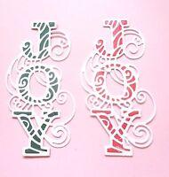 Stunning Handmade 3D CHRISTMAS CARD TOPPER JOY x 2