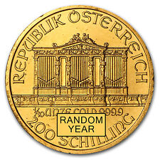 1/10 oz Gold Austrian Philharmonic Coin - Random Year