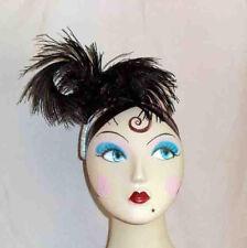 Handmade Black Double Bent Ostrich Feather Headpiece w Silver Ribbon Trim