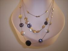 Fossil Brand Three Strand Necklace Crystals Gold Tone Disks