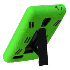 For LG Optimus L9 Impact Hard Rubber Case Phone Cover + Kick Stand Green Black