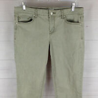 Jessica Simpson womens size 10 stretch green mid rise rolled skinny crop jeans
