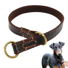 Genuine Leather Pet Dog Collar Slip P Choke Collar for Medium Large Dog Training