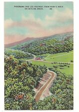 LEE HIGHWAY from MARY'S ROCK Skyline Drive Shenandoah VA Postcard Virginia Linen