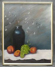 Vintage artist signed original still life painting floral fruit grapes peaches