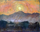 """Sunset Landscape Abstract Oil Painting 16""""x20"""" Original Signed on Canvas"""