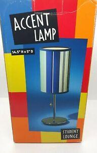 "Blue Striped 14.5"" Lamp W/ Chrome Base - Student Lounge"
