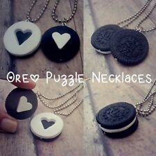 2 PIECE OREO COOKIE BEST FRIEND NECKLACE SET GIRLS BOYS PUZZLE FREE SHIPPING