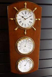 "WALL CLOCK BY RHYTHM - ""STARBOARD""  CLOCK, BAROMETER &HYGROMETER CFG902NR06"
