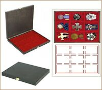 LINDNER S2491-2619E CARUS Holz Sammelkassette Rot 9x 63x85mm Für Militaria Orden