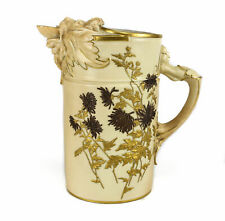 Royal Worcester Porcelain Blush Ivory Lion Head Pitcher #1258, 1888