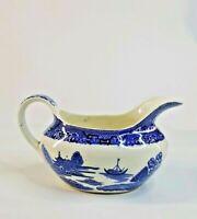 "Vtg Large Blue Willow Gravy Boat England Staffordshire Transferware 7.5"""