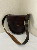 Vintage Thom Hird The Villager Brown Leather Stitches Hobo Shoulder Handbag