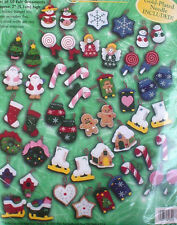 Christmas Felt Bucilla Ornaments Kit, FROSTY FAVORITES,Gingerbread,SET of 50