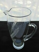Contemporary Clear Blown Ware Glass with Etched Wheat Design 40 ounce Pitcher