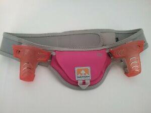 Ladies Nathan ID Adjustable Running Hiking Hydration Belt Pink & Gray M Medium
