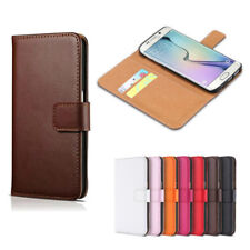 Genuine Leather Flip Wallet Case Card Cover Samsung Galaxy S6 S7 S8 S9 Plus