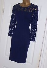 Phase Eight Navy crochet lace stretchy evening party jumper wiggle dress size 16