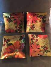 Set 4 Gorgeous Square Curved Appetizer Plates/Gold/Orange/Floral/Glossy/Fall!