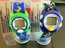 Timex Kids Digital Elastic Fabric Strap Watch LOT (2) watches