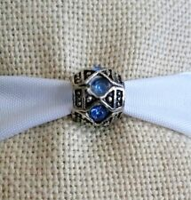 Blue Silver  Bead Spacer For European Style Charm Bracelet or Necklace