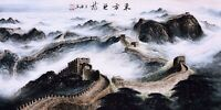 100% ORIGINAL ASIAN FINE ART CHINESE SANSUI WATERCOLOR PAINTING-The Great Wall