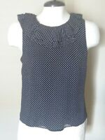 J.Crew Women's Sz 2 Navy Blue/ Ivory Polka Dot Ruffle Top Sleeveless Silk Lined