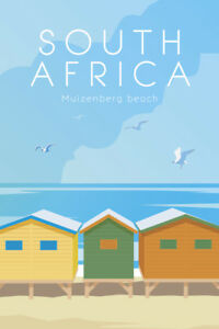 Muizenberg Beach South Africa Vintage Tourism Travel Poster 12x18 inch
