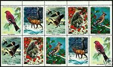 ELK, PINE GROSBEAK, BOHEMIAN WAXWING, CANADA GOOSE, GRAY SQUIRREL MINI SHEET