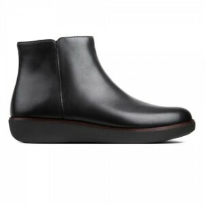 FitFlop ZIGGY ZIP Womens Breathable Real Leather Zip-Up Ankle Boots Black