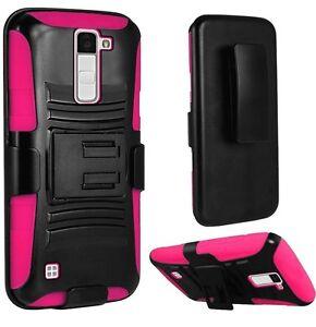 Holster + Hybrid Case Phone Cover For LG Premier LTE L62VL L61AL LG K10