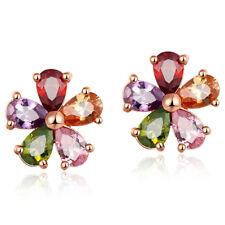 Cute Flower Shape Mix Color Morganite Topaz Gemstone Women Stud Earrings 1 Pair