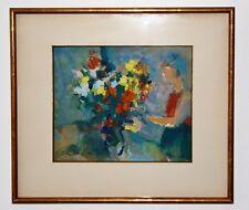 Jean BREANT - Huile sur papier - Le bouquet