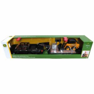 1/16 BIG FARM Chevy Silverado Dually w/ John Deere Skidloader & Trailer 46482