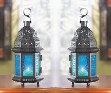 2 Moroccan Style Black Votive Candle Lanterns w/ Blue Pressed Glass