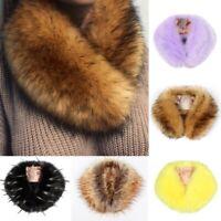 Ladies Women's Faux Fur Collar Scarf Fluffy Winter Warm Shawl Wrap Stole Scarfs