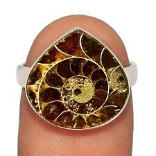 "Silver Ring Jewelry s.6.5 Ar220719 ""Fossil"" Ammonite - Madagascar 925"