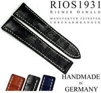 BAND 20mm RIOS1931 passt OMEGA Faltschließe Leder BAND Germany 20/18mm Uhrband