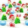 35pc Assorted Christmas Tree Santa Claus Snowflake Mini Erasers Party Gift Prize