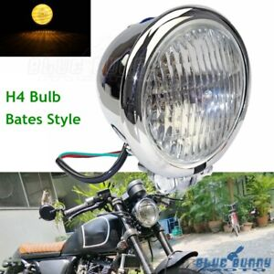 4.5'' Bates Style Motorcycle Headlight H4 Bottom Mount For Harley XS650 Chopper