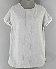 WD-NY Sz S Heather Gray Rounded Bottom Sweatshirt Knit 100% Cotton Top B300