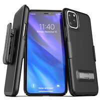 iPhone 11 / Pro Max Belt Clip Case w Kickstand Slim Thin Cover w Holster Black