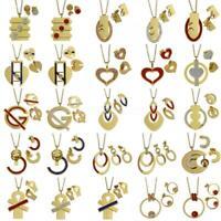 Fashion Stainless Steel Jewelry Set Rhinestone Pendant Stud Earring Necklace Set