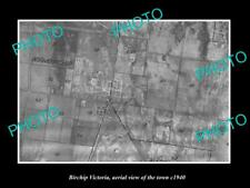 OLD LARGE HISTORIC PHOTO OF BIRCHIP VIC AUSTRALIA, AERIAL VIEW OF TOWN c1940