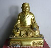 """6 """"vieux tibétain bronze base de bouddhisme doré guru statue sculpture"""