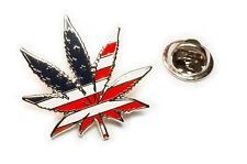Marijuana 420 USA Flag Medical Weed Cannabis Suit Hat Jacket Tie Tack Lapel Pin